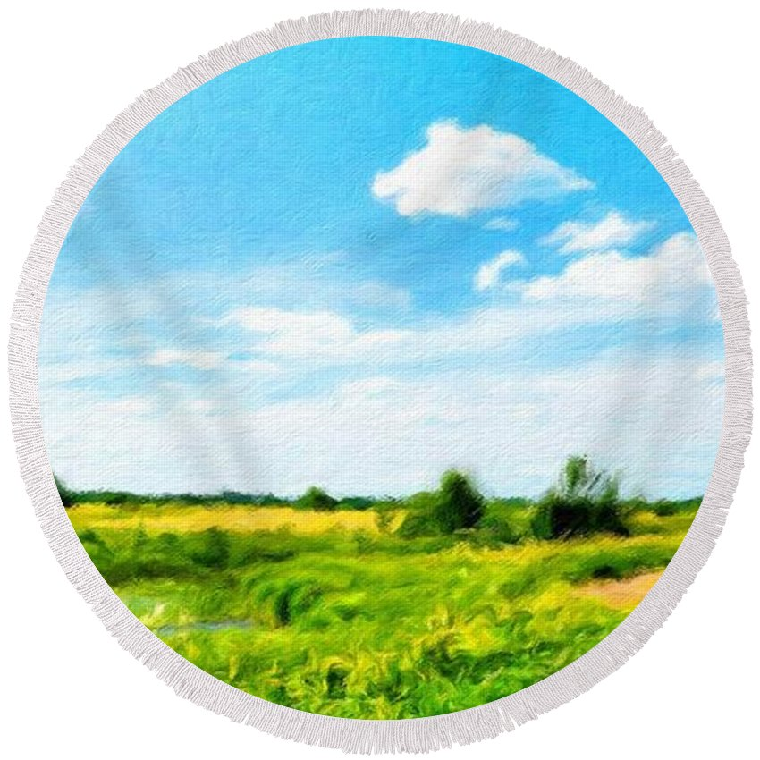 Landscape Round Beach Towel featuring the painting Nature Landscape Nature by World Map