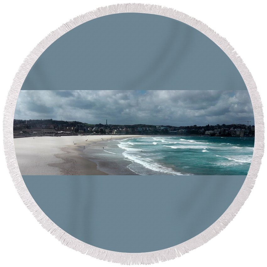 Australia Round Beach Towel featuring the photograph Australia - Bondi Beach Sand And Sea by Jeffrey Shaw