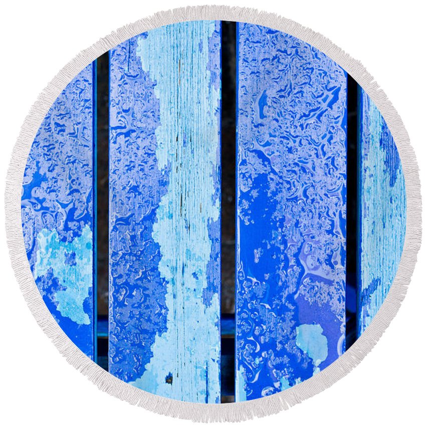 Abstract Round Beach Towel featuring the photograph Blue Wood by Tom Gowanlock
