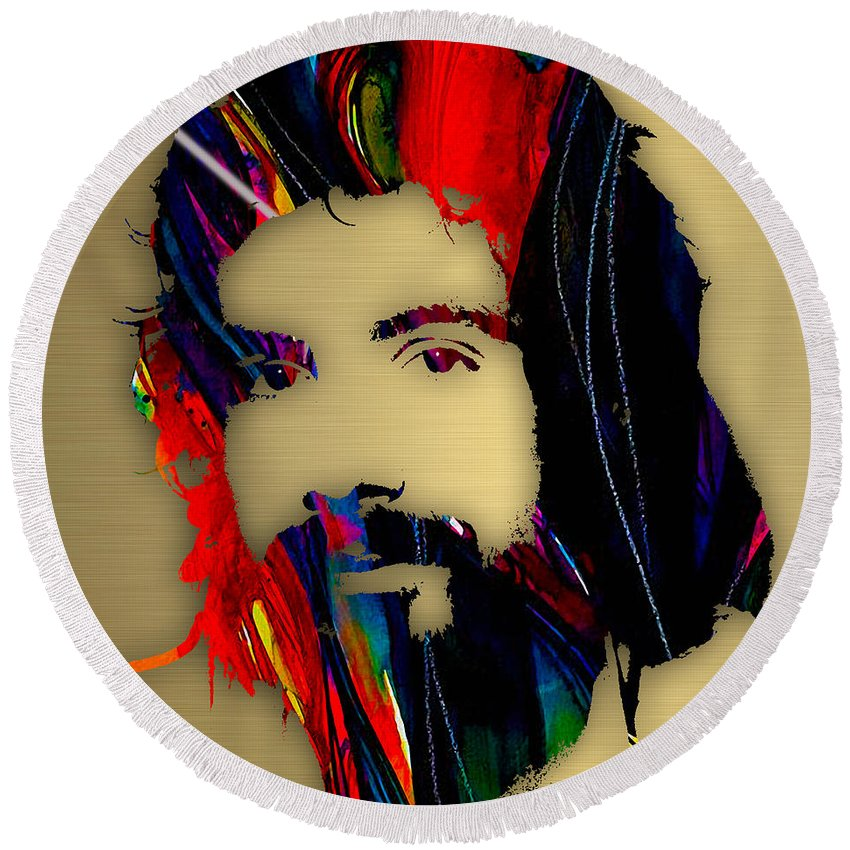 Cat Stevens Round Beach Towel featuring the mixed media Cat Stevens Collection by Marvin Blaine