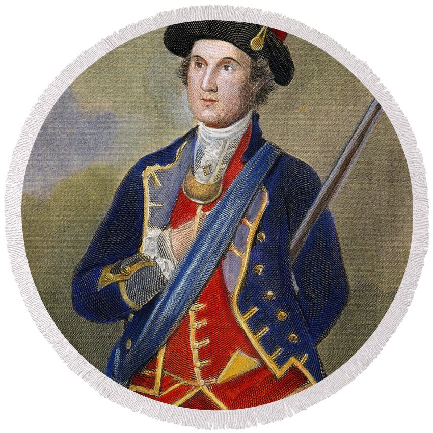 1772 Round Beach Towel featuring the photograph George Washington by Granger