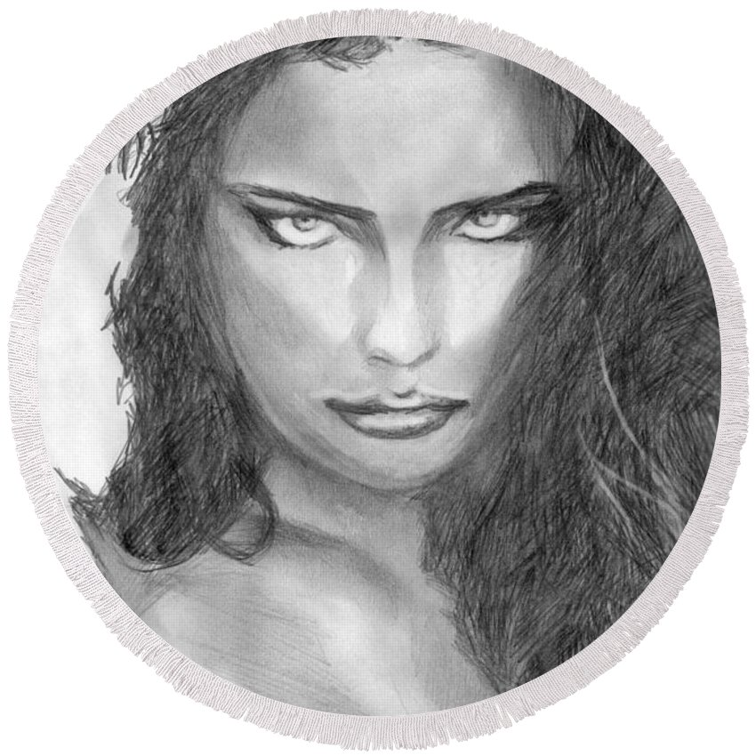 Adriana Lima Round Beach Towel featuring the drawing 13 by Kristopher VonKaufman