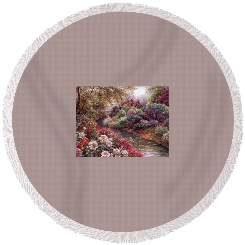 Shrub Round Beach Towel featuring the digital art lrs Peeters Henry No Tltle Henry Peeters by Eloisa Mannion