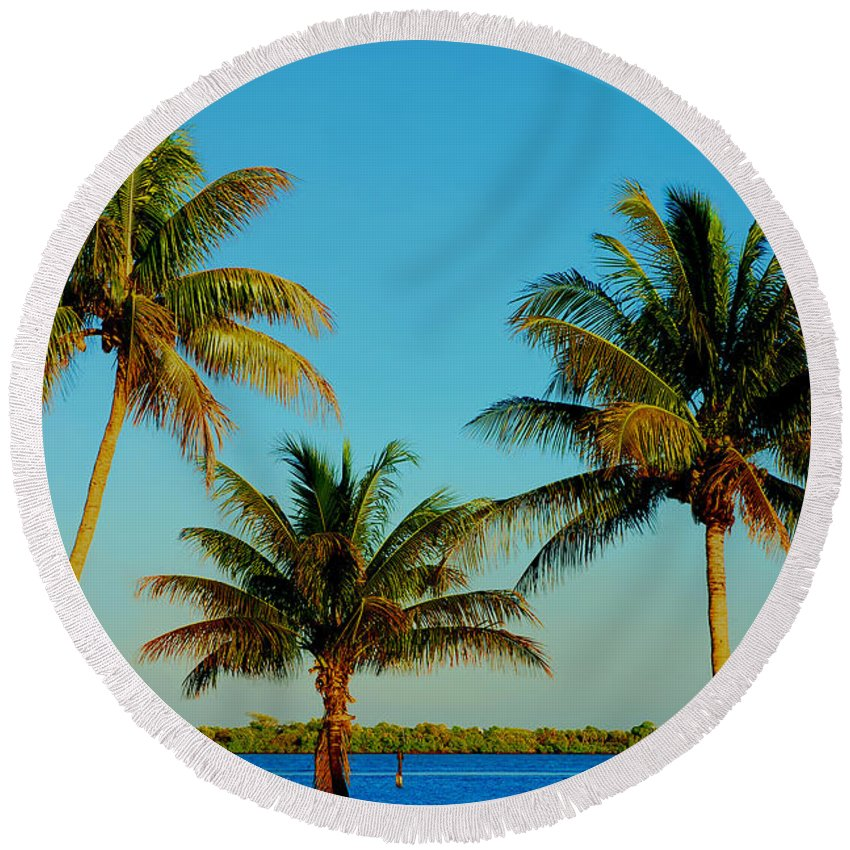 Palm Trees Round Beach Towel featuring the photograph 13- Palms In Paradise by Joseph Keane