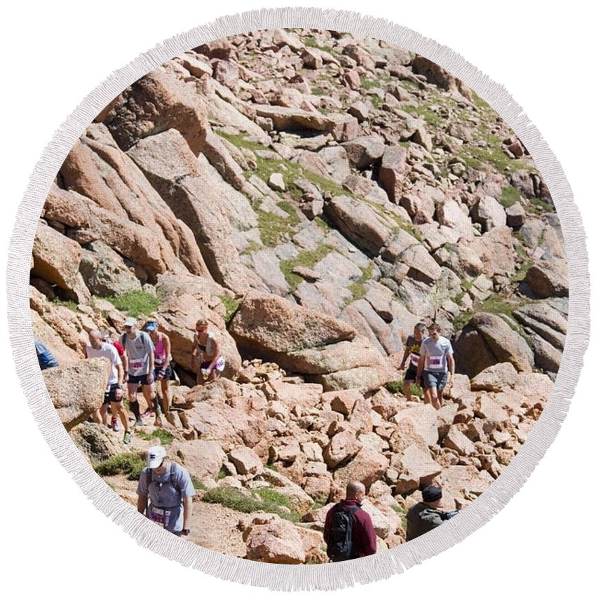 Athletes Round Beach Towel featuring the photograph Pikes Peak Marathon And Ascent by Steve Krull