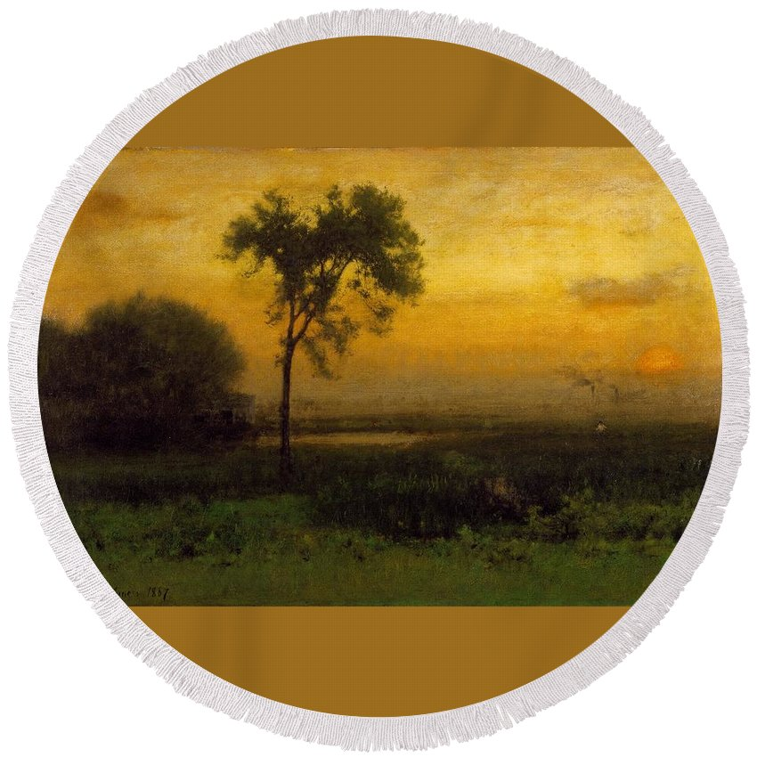 George Inness (american Round Beach Towel featuring the painting Sunrise by George Inness