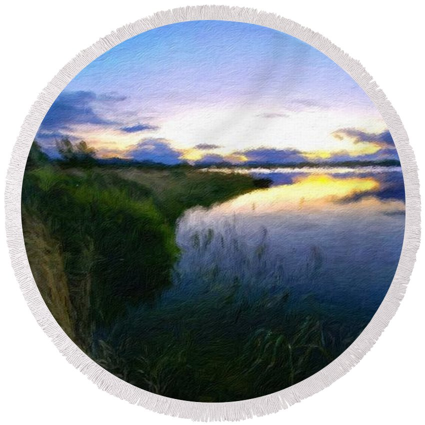 Landscape Round Beach Towel featuring the painting Nature Original Landscape Painting by World Map