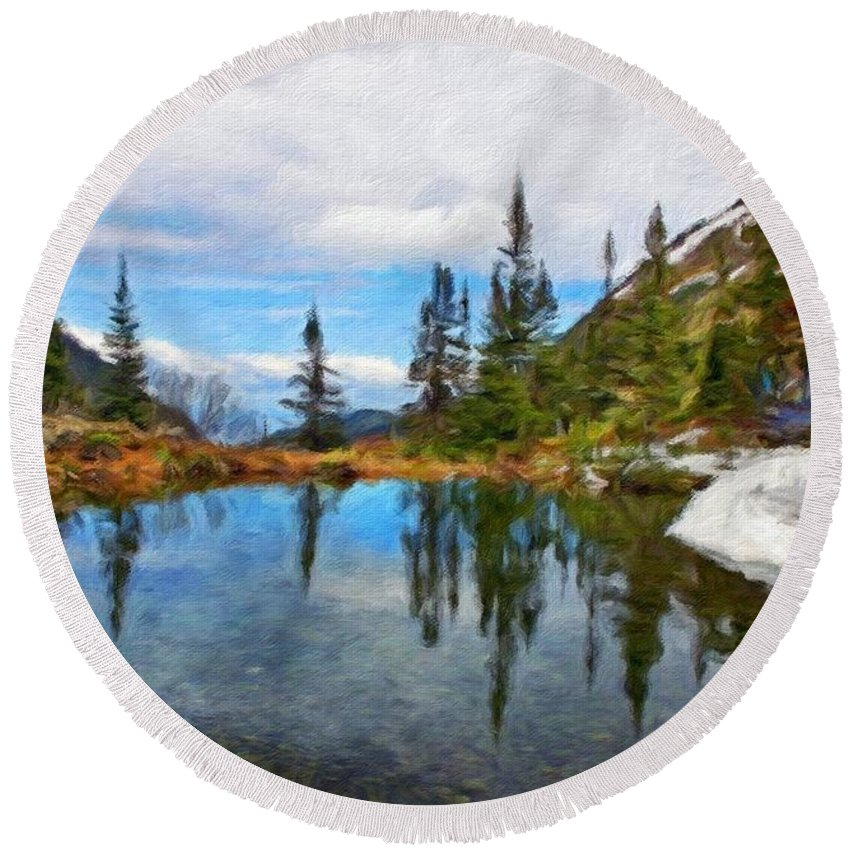 Landscape Round Beach Towel featuring the painting Nature Scenery Oil Paintings On Canvas by World Map