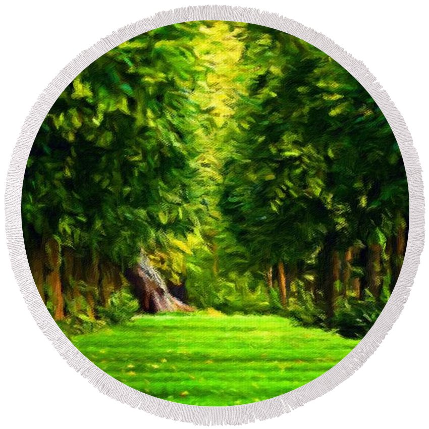 Landscape Round Beach Towel featuring the painting Nature Oil Canvas Landscape by World Map