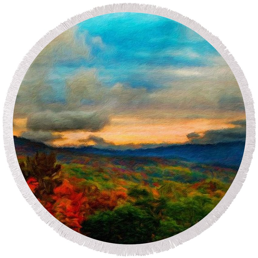 Landscape Round Beach Towel featuring the painting Landscape Art Nature by World Map