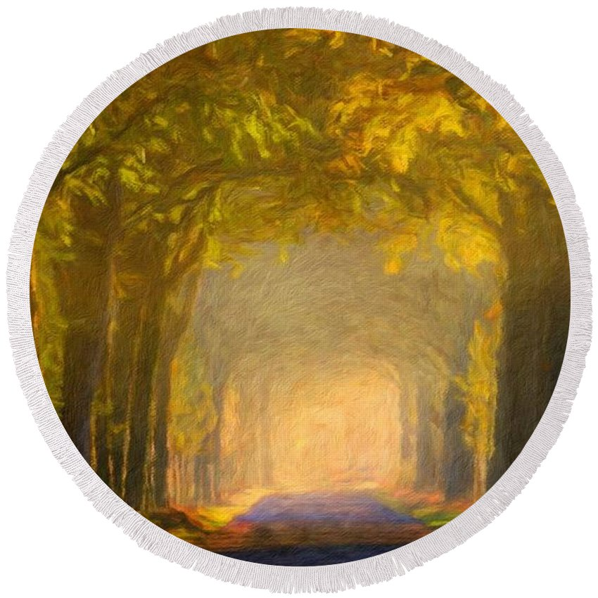 Landscape Round Beach Towel featuring the painting Nature Landscape Wall Art by World Map