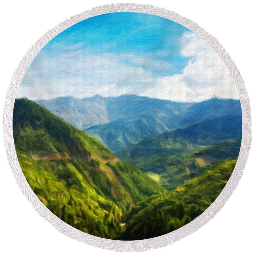 Landscape Round Beach Towel featuring the painting Landscape Nature Art by World Map
