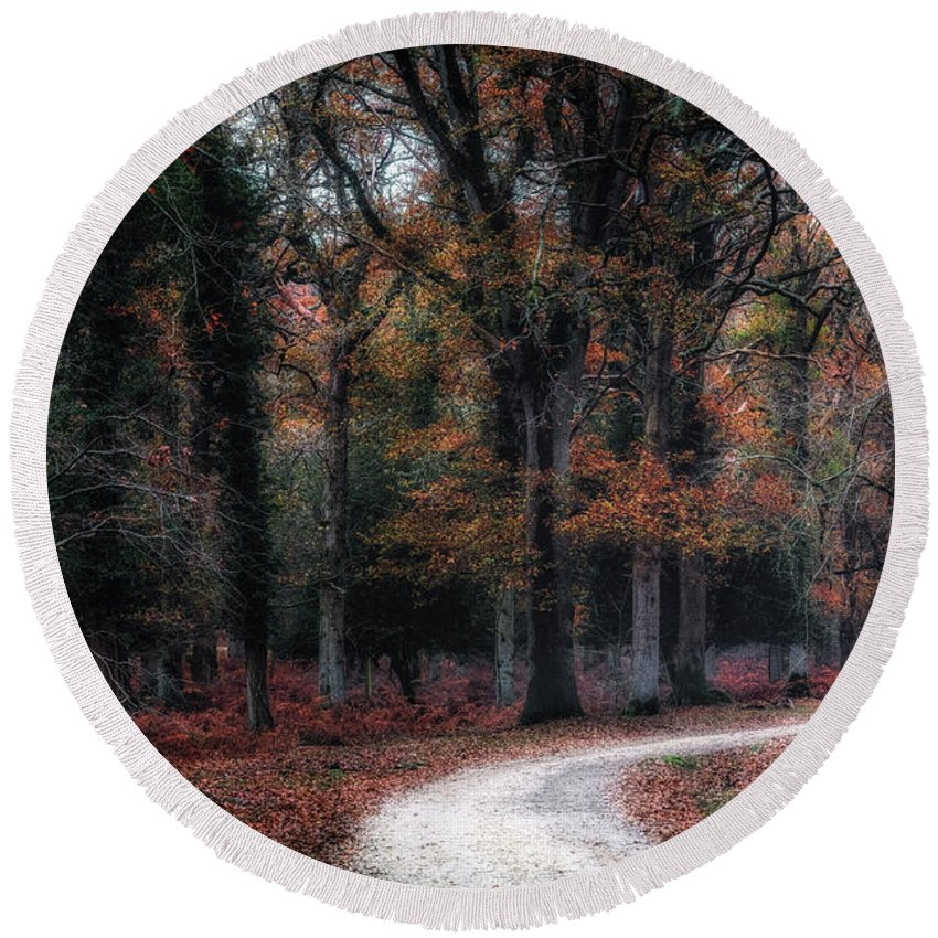Holly Hatch Inclosure Round Beach Towel featuring the photograph New Forest - England by Joana Kruse