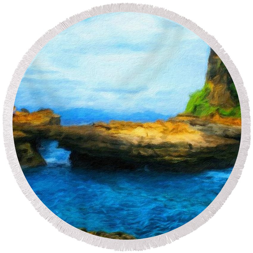 Landscape Round Beach Towel featuring the painting Landscape Painted by World Map
