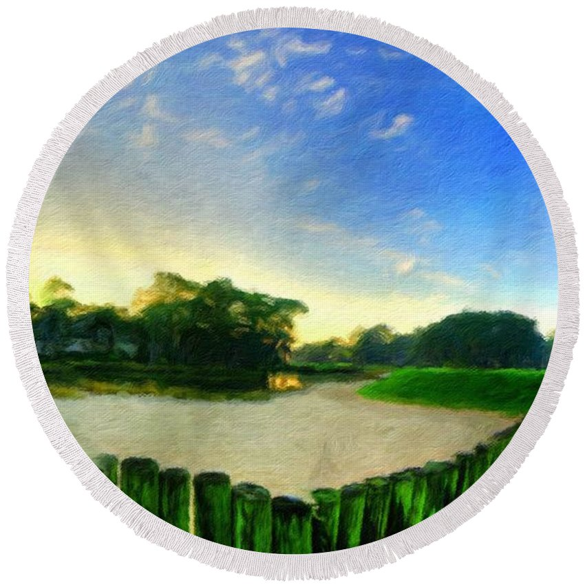 Landscape Round Beach Towel featuring the painting Nature Landscape Jobs by World Map