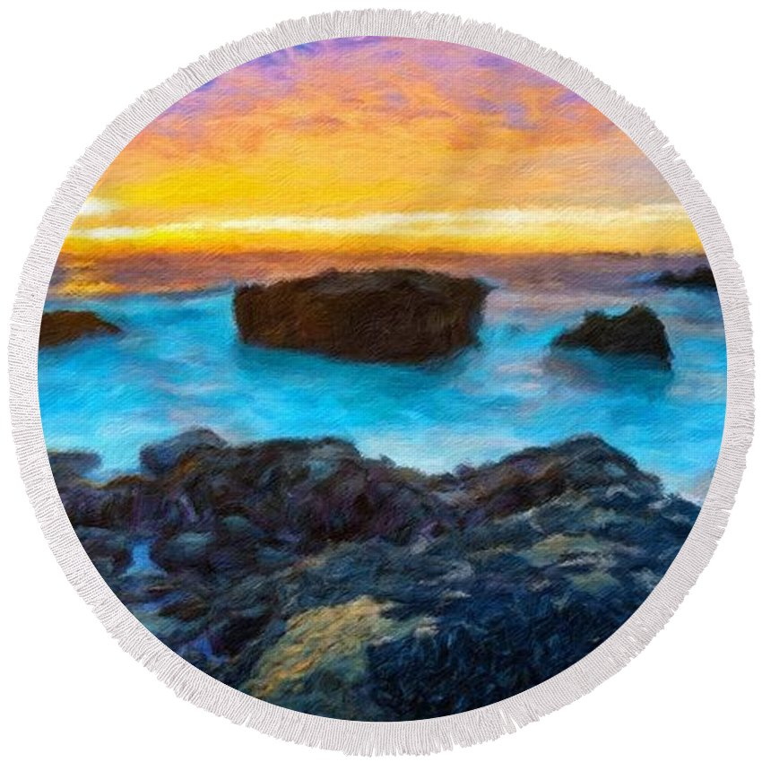 Landscape Round Beach Towel featuring the painting Oil Painting Landscape Pictures by World Map
