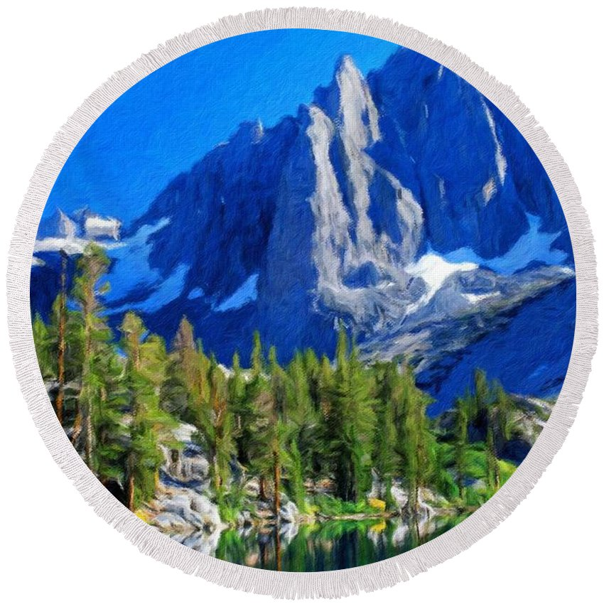 Landscape Round Beach Towel featuring the painting Oil Paintings Art Landscape Nature by World Map