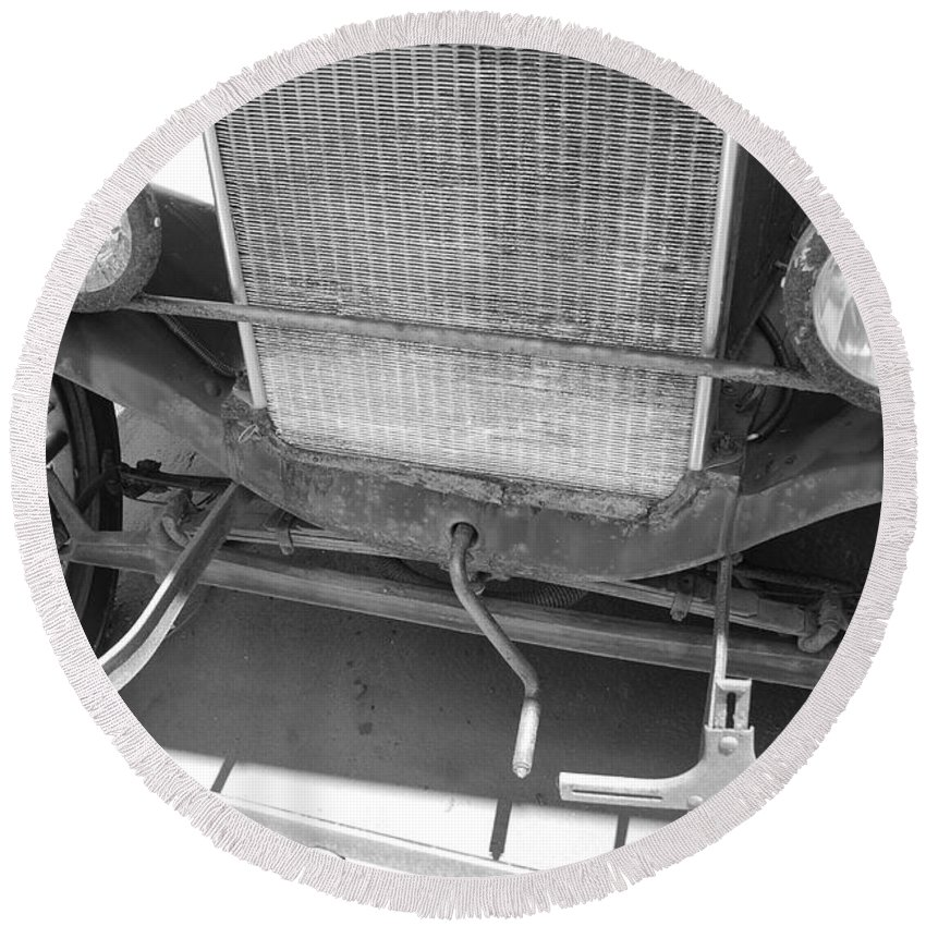 Black And White Round Beach Towel featuring the photograph 1926 Model T Ford by Rob Hans