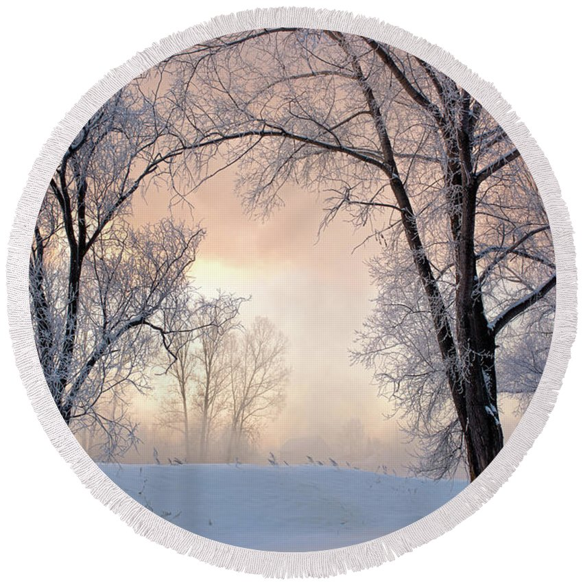 Amazing Round Beach Towel featuring the photograph Amazing Landscape With Frozen Snow Covered Trees At Sunrise  by Oleg Yermolov