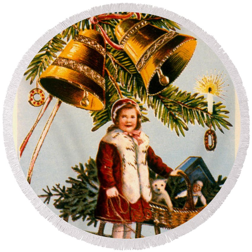 19th Century Round Beach Towel featuring the photograph American Christmas Card by Granger