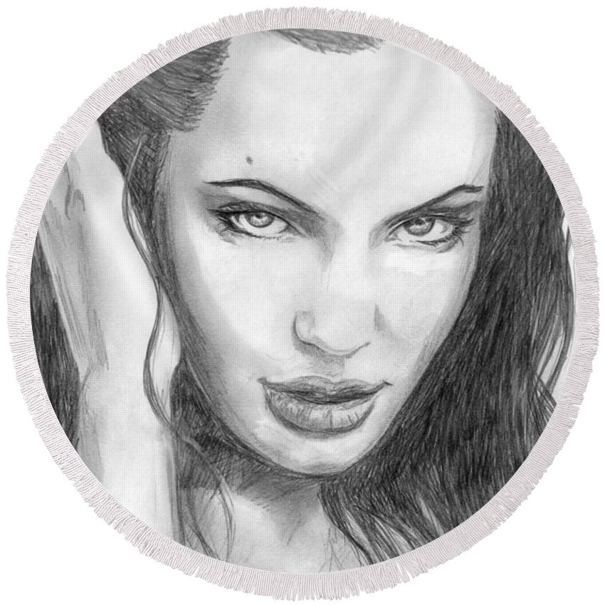 Angelina Jolie Round Beach Towel featuring the drawing 14 by Kristopher VonKaufman