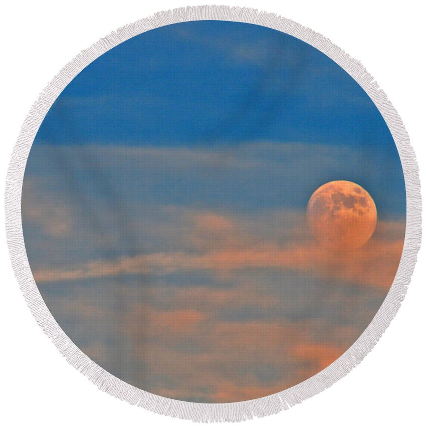 Moon Round Beach Towel featuring the photograph 14- Moonfire by Joseph Keane