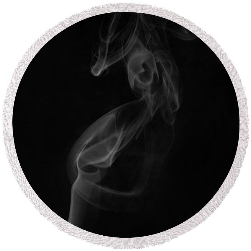 Smoke Round Beach Towel featuring the photograph Smoke Art Photography by Kiran Joshi