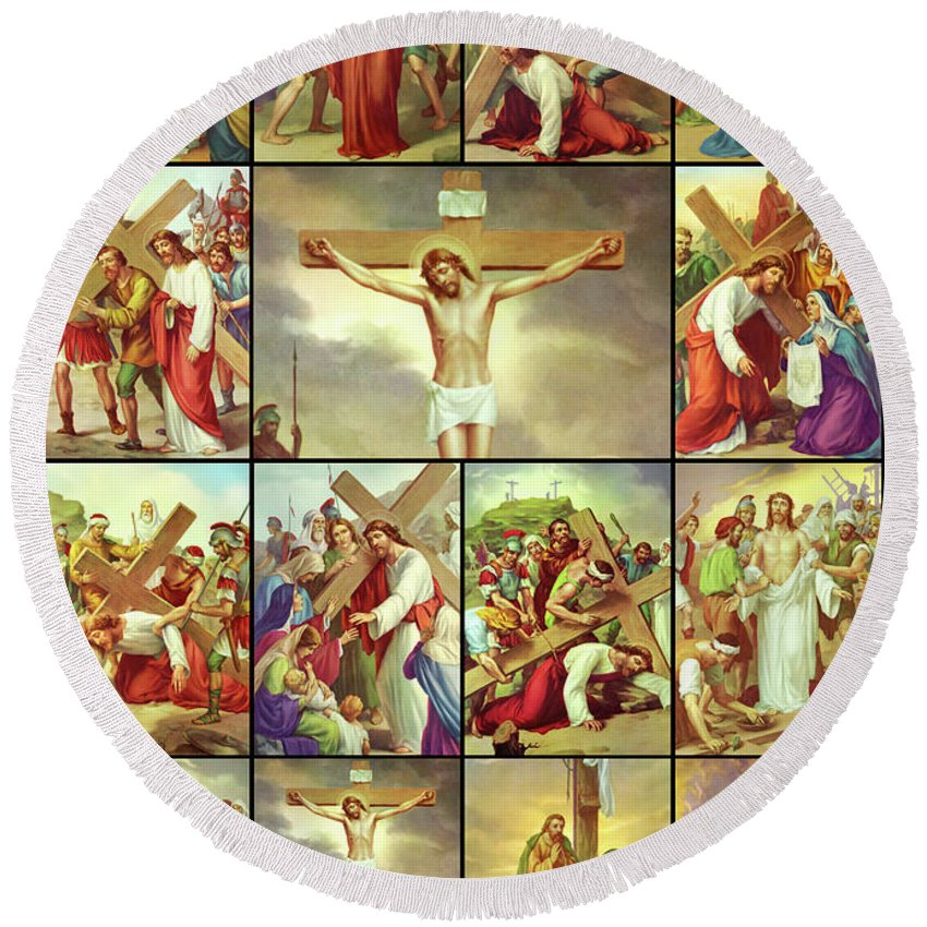 Stations Of The Cross Round Beach Towel featuring the photograph 14 Stations Of The Cross by Munir Alawi