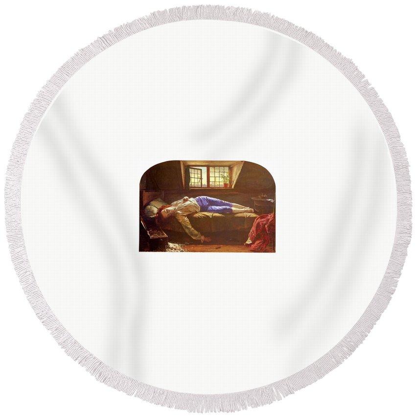 Litter Round Beach Towel featuring the digital art Wallis Henry The Death Of Chatterton Henry Wallis by Eloisa Mannion