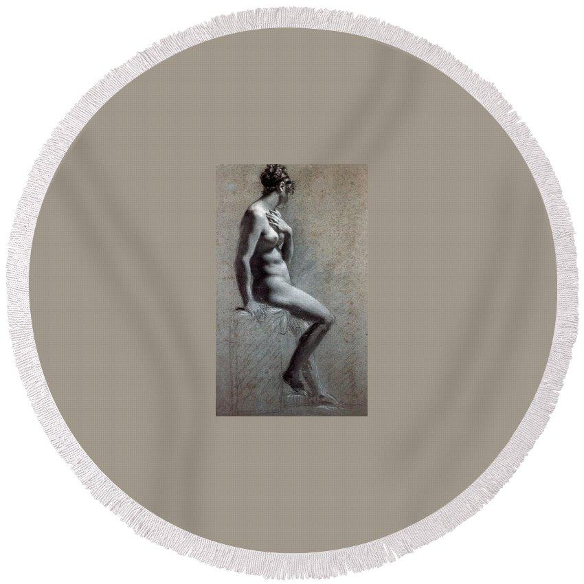Burlap Round Beach Towel featuring the digital art 14095 Pierre-paul Prudhon by Eloisa Mannion
