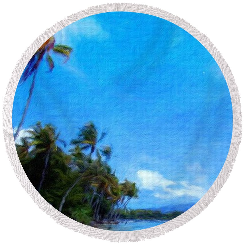 Landscape Round Beach Towel featuring the painting Landscape Nature Drawing by World Map