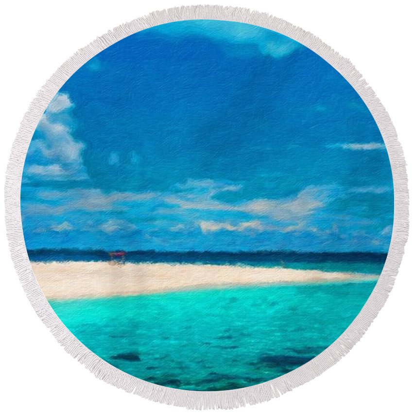 Landscape Round Beach Towel featuring the painting Nature Landscape Lighting by World Map