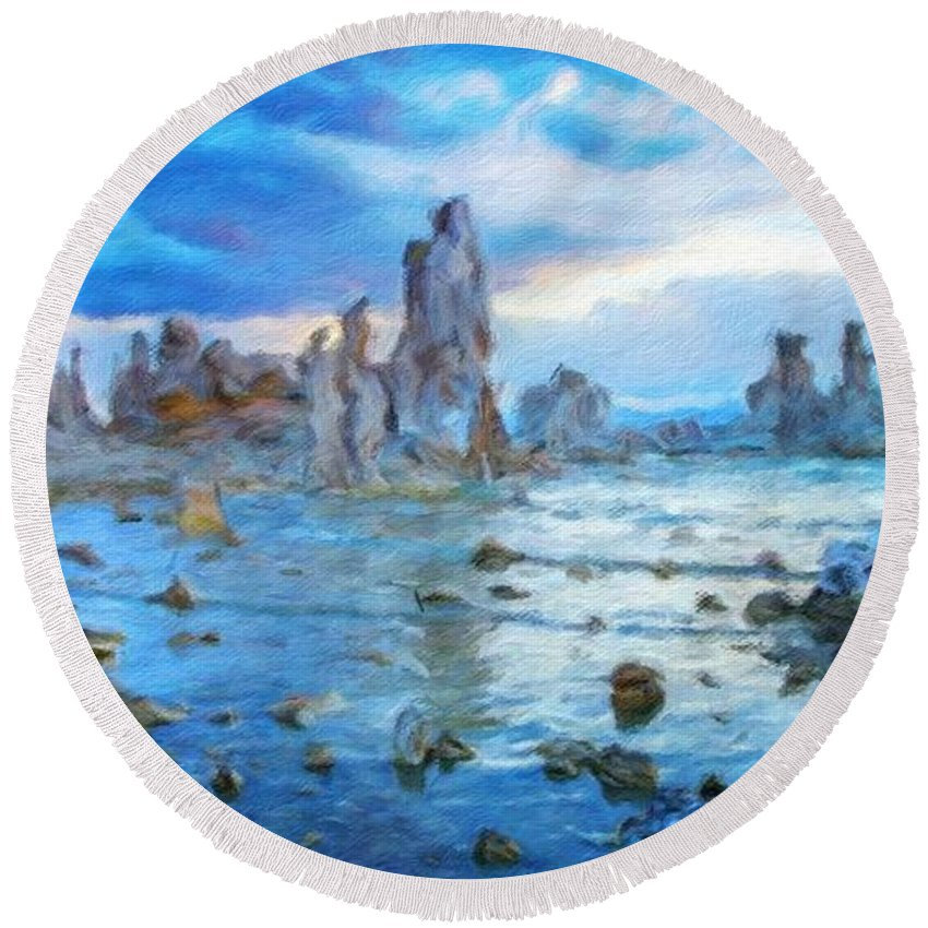 Landscape Round Beach Towel featuring the painting Art Landscape Nature by World Map