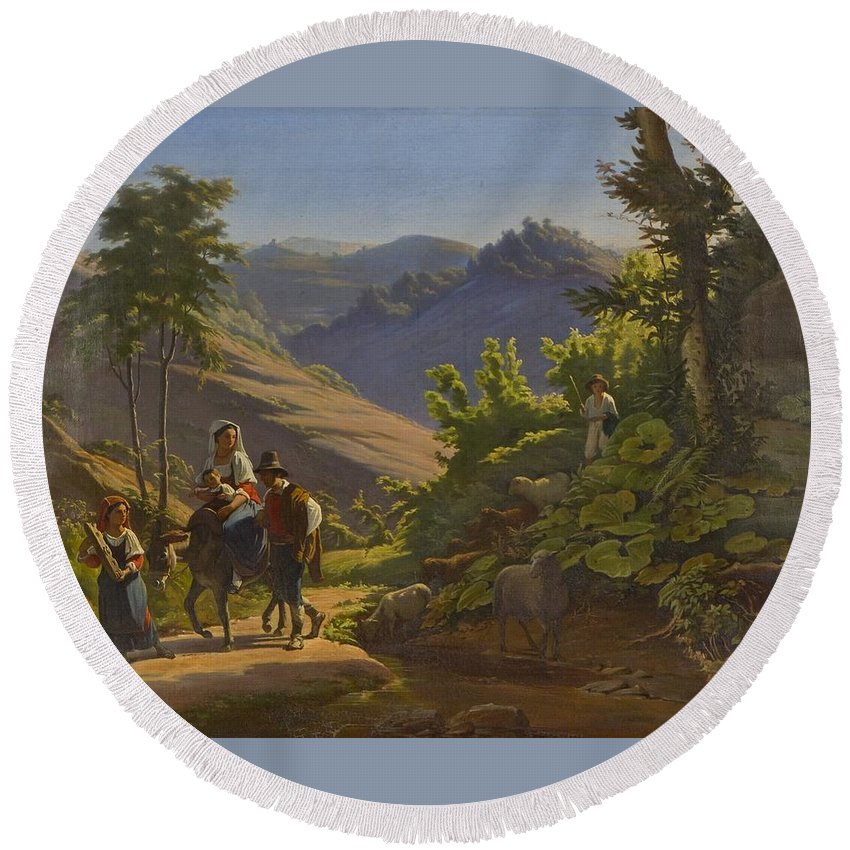 Johan Blackstadius (1816-1898) Round Beach Towel featuring the painting Landscape by MotionAge Designs