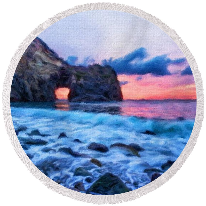 Landscape Round Beach Towel featuring the painting Nature Landscape Paintings by World Map