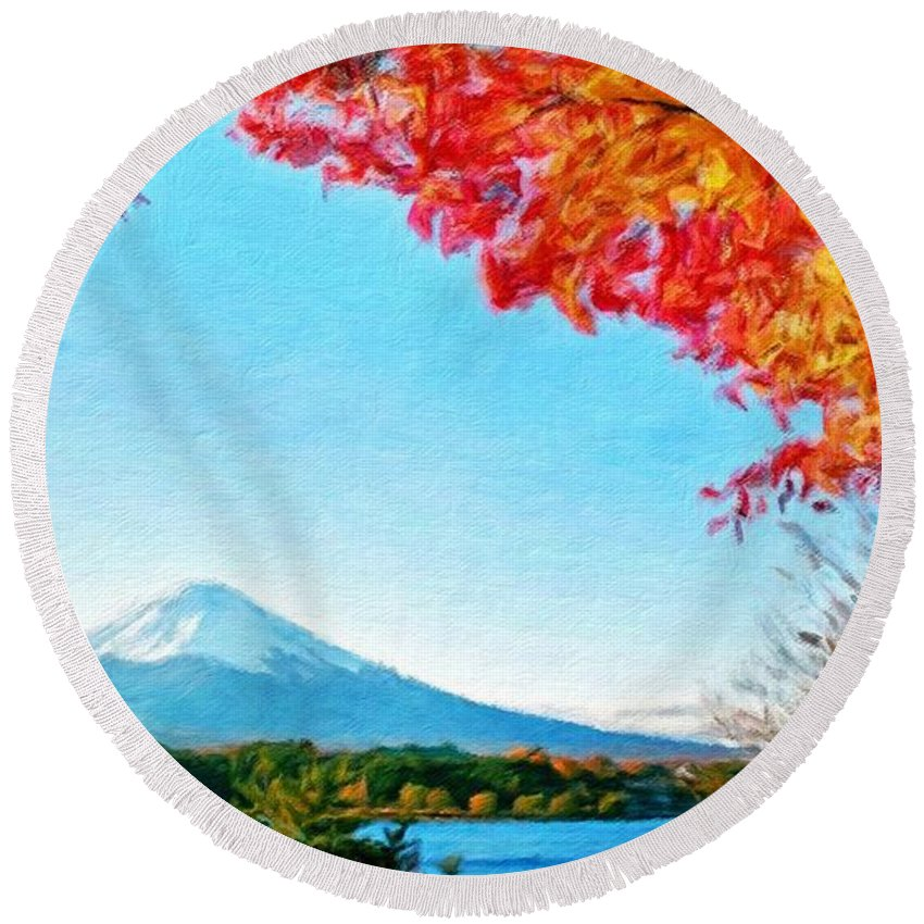 Landscape Round Beach Towel featuring the painting Nature Landscape Illumination by World Map