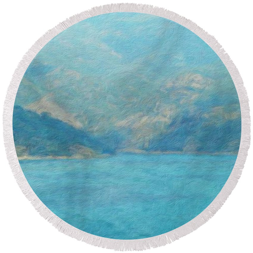 Landscape Round Beach Towel featuring the painting Landscape Nature by World Map