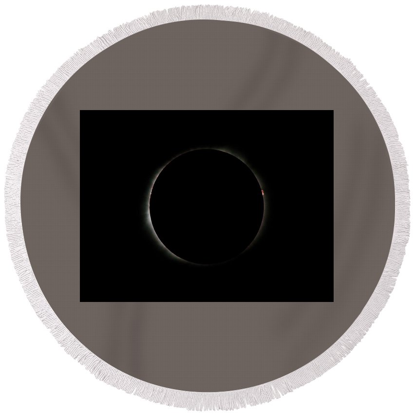 Eclipse Round Beach Towel featuring the photograph #15 August 2017 Solar Eclipse by John Diebolt