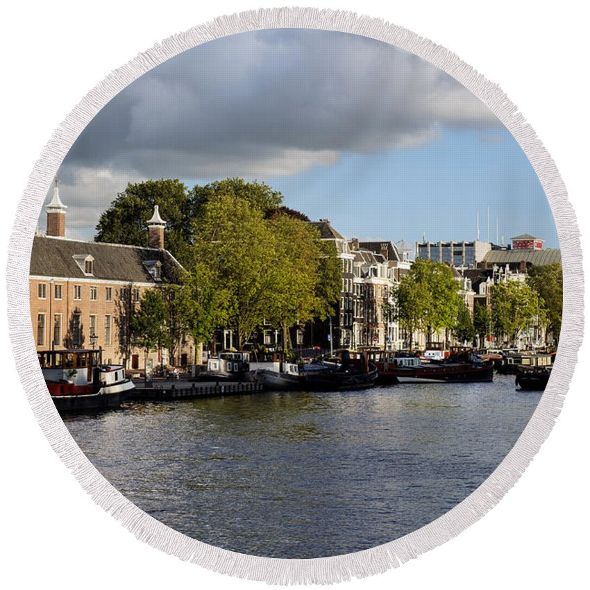 Canals Of Amsterdam Round Beach Towel featuring the photograph Canals Of Amsterdam by Yefim Bam