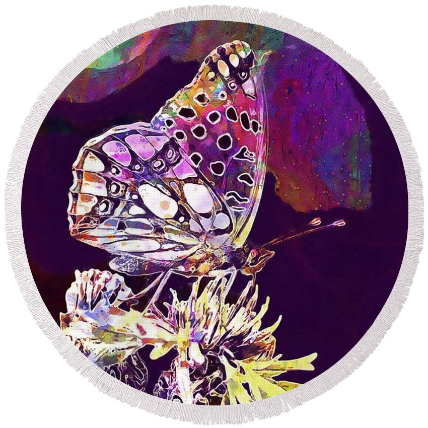 Insect Round Beach Towel featuring the digital art Insect Nature Live by PixBreak Art