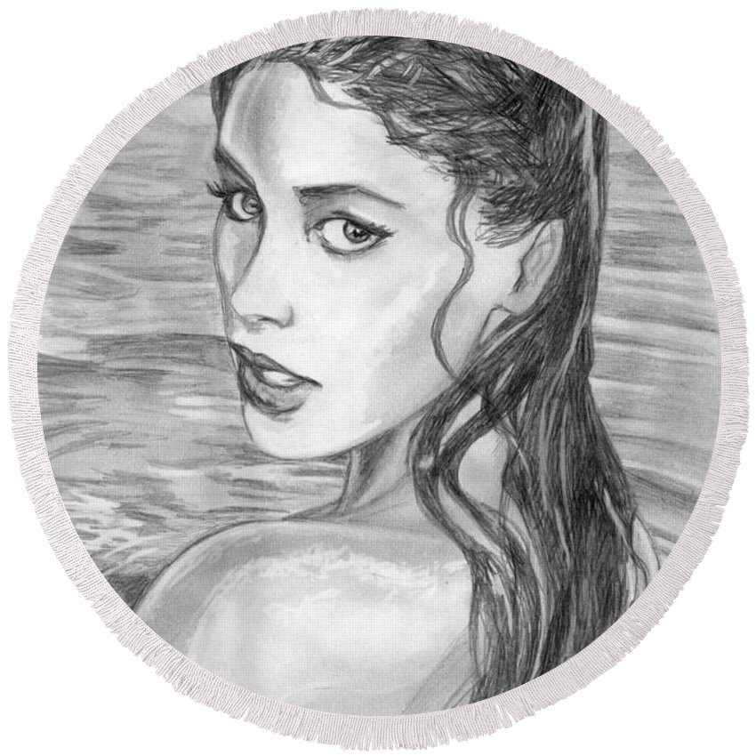 Soleil Moon Frye Round Beach Towel featuring the drawing 15 by Kristopher VonKaufman