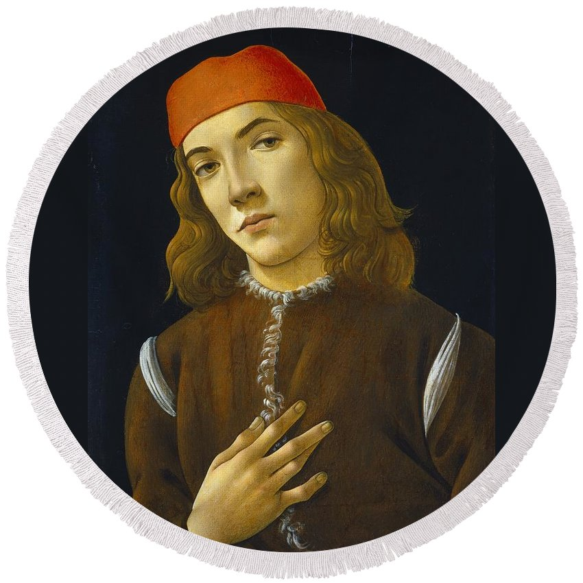 Sandro Botticelli Round Beach Towel featuring the painting Portrait Of A Young Man by MotionAge Designs
