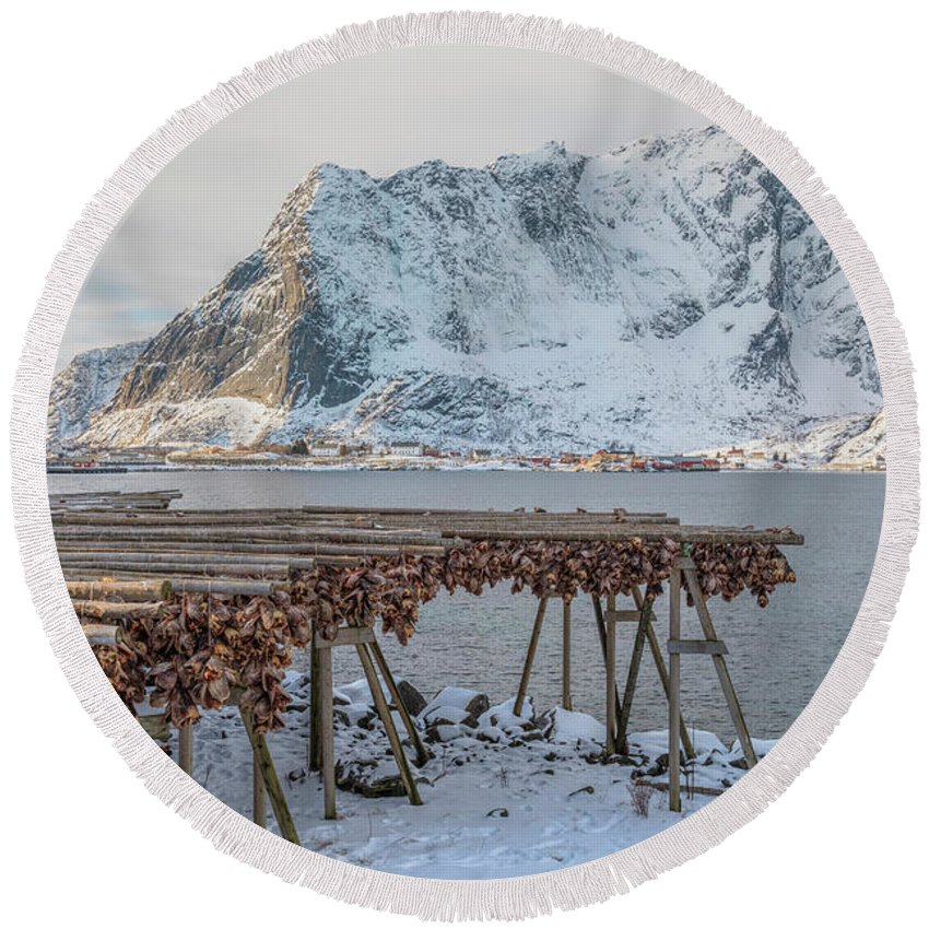 Stockfish Round Beach Towel featuring the photograph Reine, Lofoten - Norway by Joana Kruse