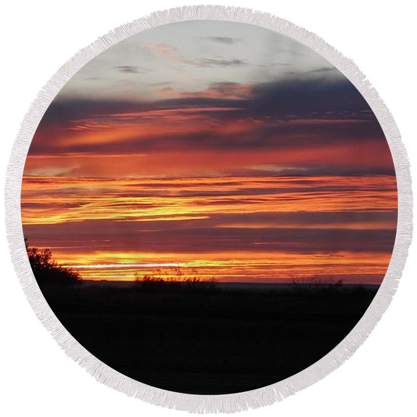 Sun Round Beach Towel featuring the photograph Sunset by FL collection