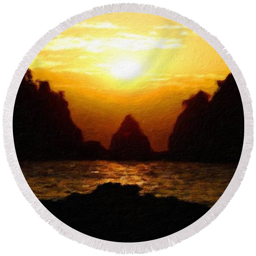 Landscape Round Beach Towel featuring the painting Nature Oil Paintings Landscapes by World Map