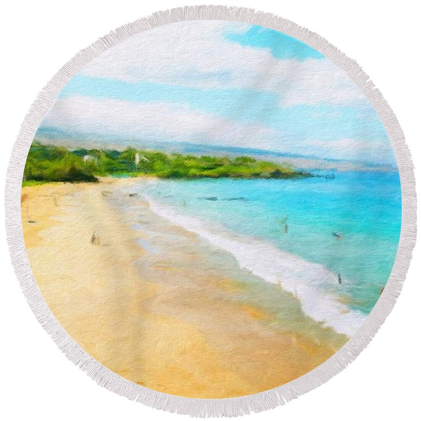 Landscape Round Beach Towel featuring the painting Nature Painted Landscape by World Map