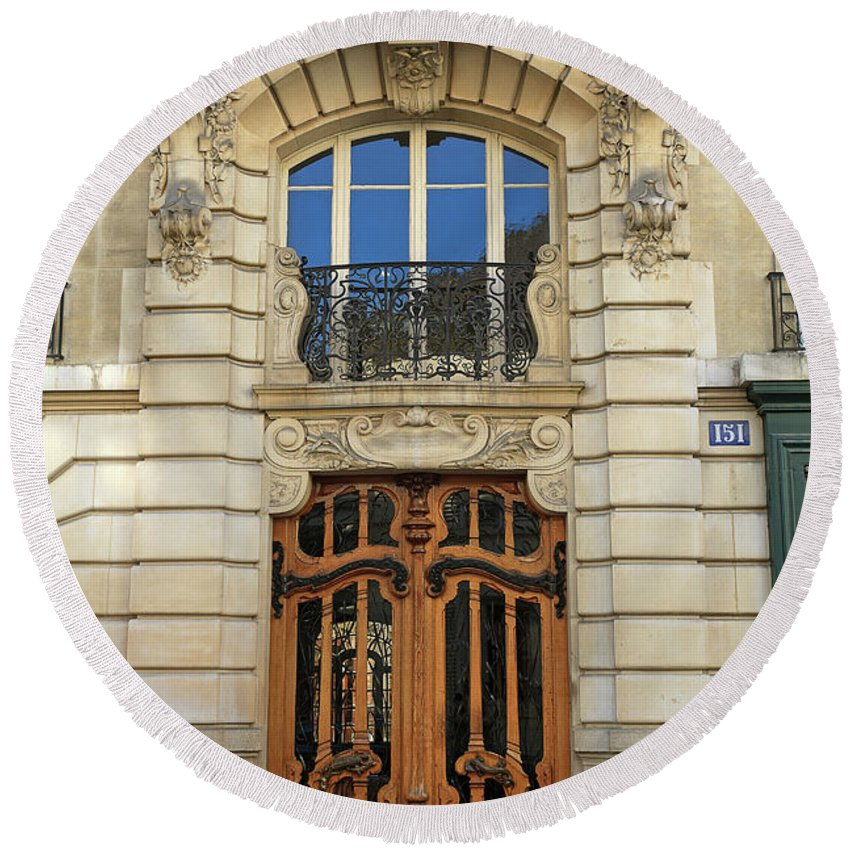 Art Nouveau Round Beach Towel featuring the photograph 151 Rue De Grenelle Paris by Louise Heusinkveld