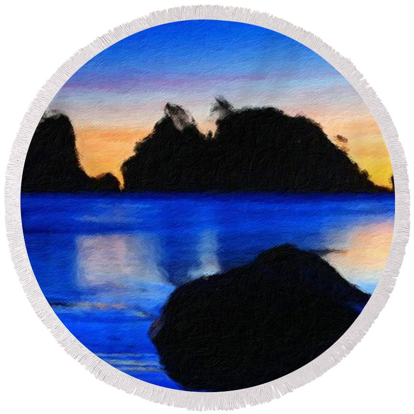 Landscape Round Beach Towel featuring the painting Nature Landscape Oil by World Map