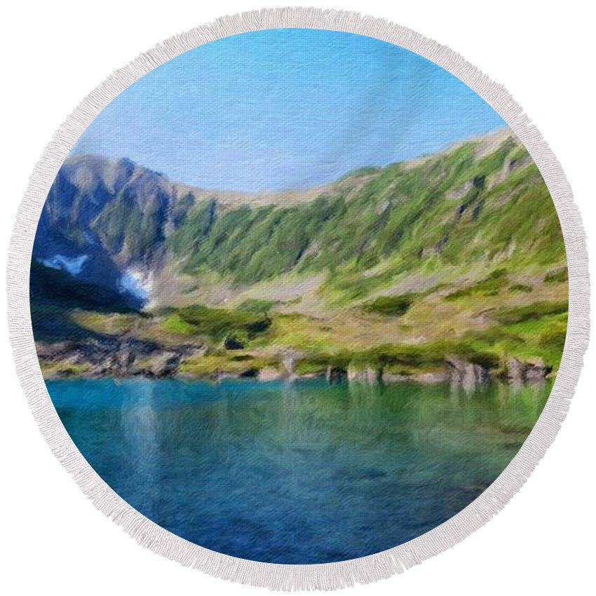 Landscape Round Beach Towel featuring the painting Nature Landscape Pictures by World Map