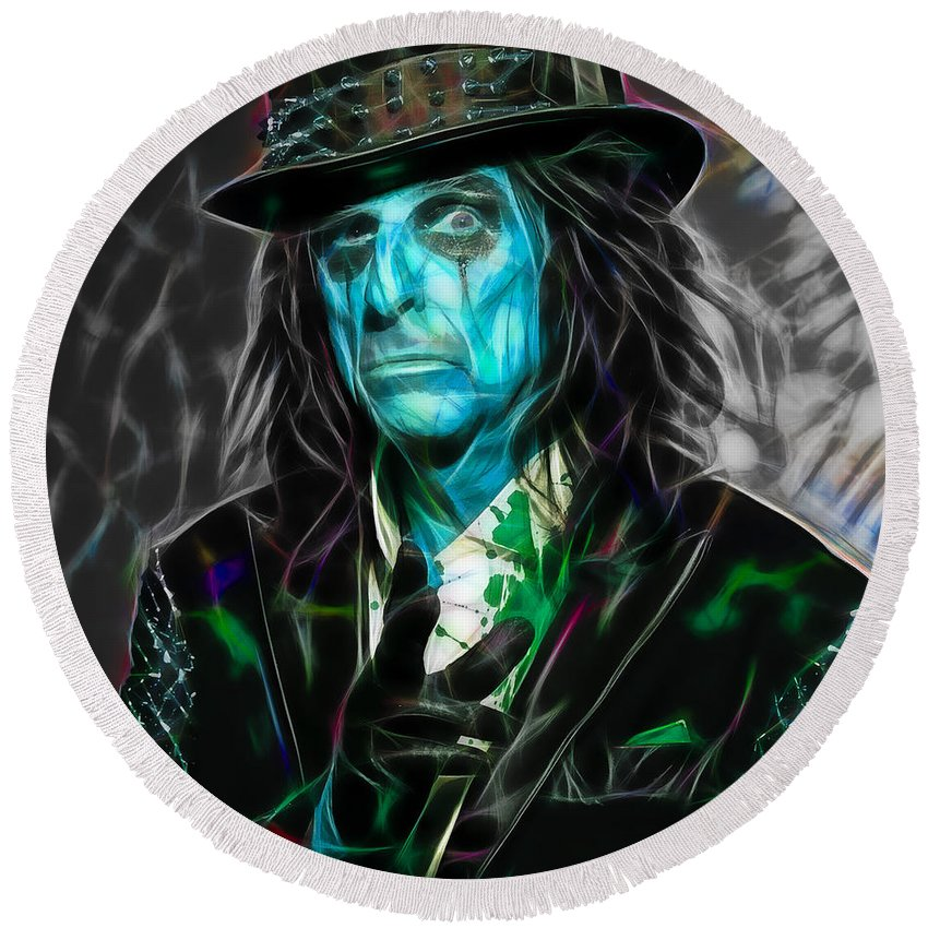 Alice Cooper Round Beach Towel featuring the mixed media Alice Cooper Collection by Marvin Blaine